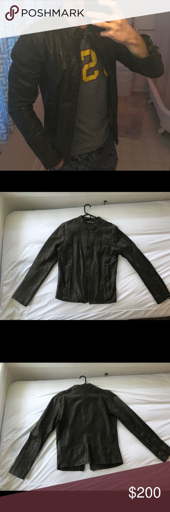 Dark Olive Vince Moto Jacket Nice Vince men's leather jacket for sale. It says size large but it is NOT a large. Definitely more of a small/medium. Fits beautifully and gets tons of compliments. Was in Barney's for $995. Vince Jackets & Coats Bomber & Varsity