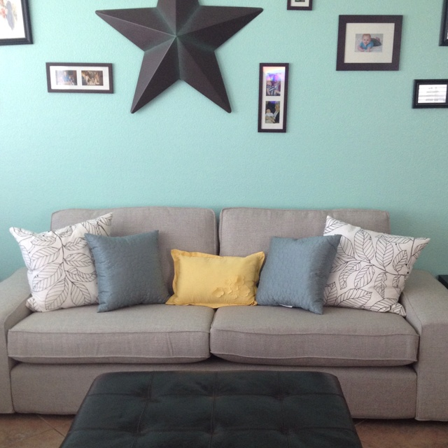 My Aqua living room, with new Ikea couch!