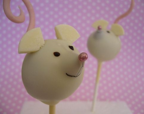 Mouse cake pops - cute. Could use a chopped hershey kiss for the nose
