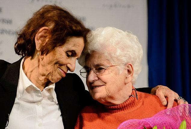 Shoshana Golan, left, welcomes Wladyslawa Dudziak to New York at John F. Kennedy International Airport on Wednesday. Dudziak took primary responsibility for Golan's care after her mother took the young girl in during the Holocaust. They two hadn't seen each other in decades.Holocaust Survivor
