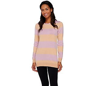 LOGO by Lori Goldstein Cotton Cashmere Striped Sweater with Chiffon