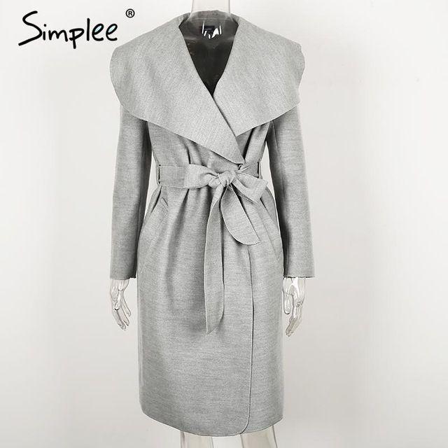 Simplee черный рябить теплое зимнее пальто Для женщин отложным длинное пальто воротник пальто женские Повседневное Осень 2016 розовая верхняя одеждакупить в магазине Simplee ApparelнаAliExpress