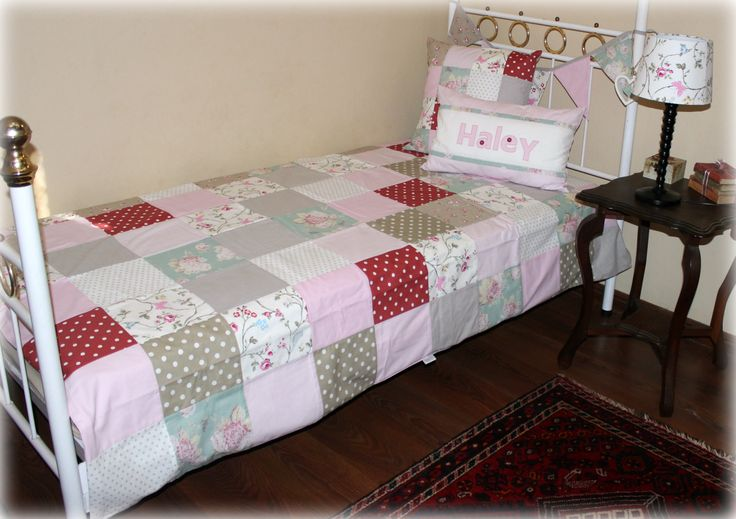 """Bloom"" Patchwork Girl's bed linen in florals, pink, stone. Can be customised. Designed by: Tula-tu Baby Linen"