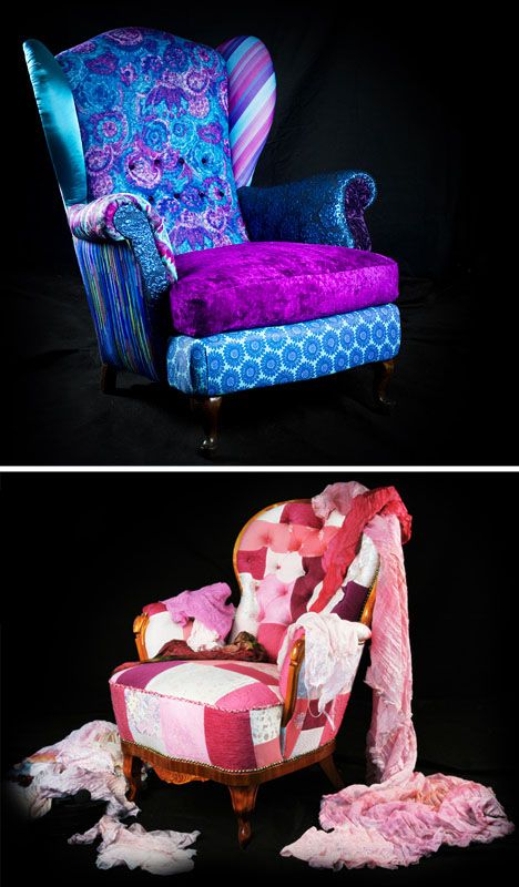 Peacock vibrant and rose petal patchwork reading chairs. #sofa #couch #art #furniture #colourful #reading # chair