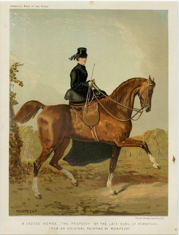 1873 Antique Ladies Sidesaddle Print -Horse, Fox Hunting ...