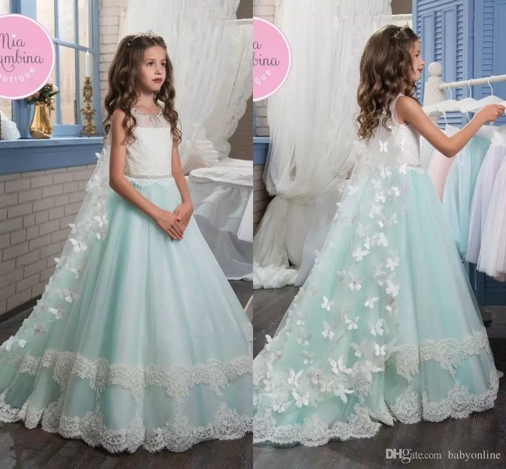 2017 New Flower Girl Dresses Bow Butterfly Crew Neck Beaded Lace Appliques Elegant Cheap Girl'S Dresses With Wraps Toddler Pageant Dresses Wedding Dresses For Kids From Babyonline, $102.52| Dhgate.Com