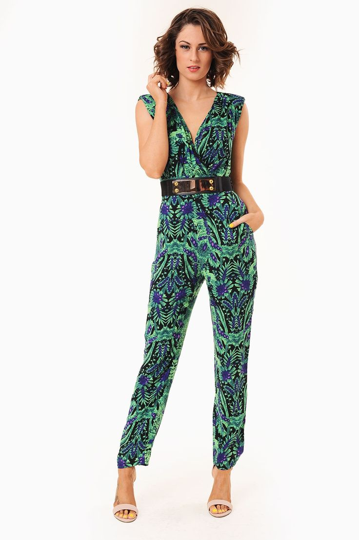 There is no beating a jumpsuit for the ability to showcase an elegant classy unique look, this figure fitted beauty is no exception with added belt, this statement jumpsuit is very glamourerous and a must have a show stopping party piece. Jumpsuits will be the style statement this coming season so be sure to to not miss out!   - V Neckline - Padded shoulders  - Twin pockets