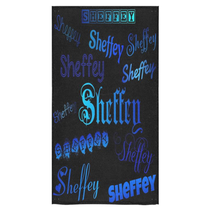 Sheffey Fonts - Shades of Blue on Black 040 Bath Towel #bathaccessories