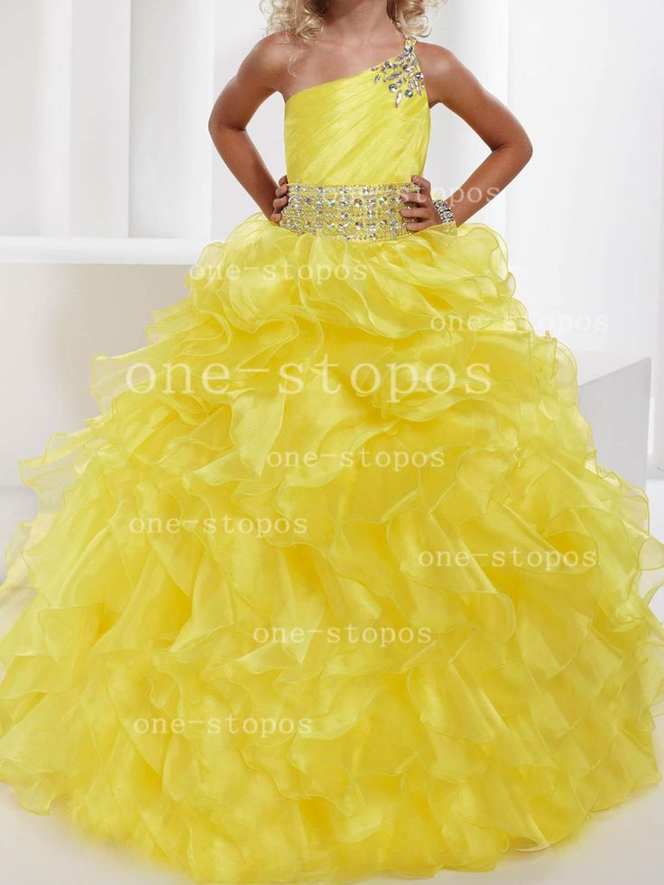 2014 Hot One Shoulder Yellow Organza Sash Beaded Girl's Pageant Dresses   Buy Wholesale On Line Direct from China