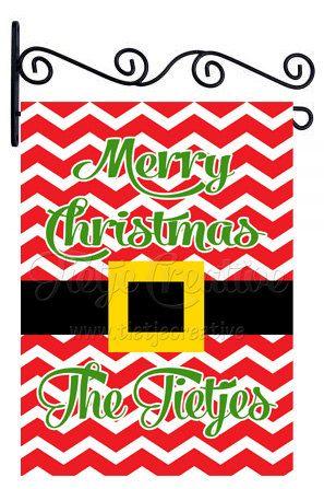 Christmas Flag, Santas Belt, Belt Flag, Personalized Flag by TietjeCreative on Etsy