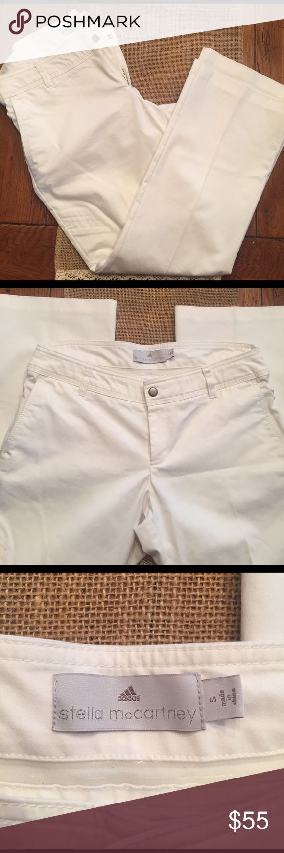 Stella McCartney Adidas white cropped pant Perfect condition and so cute. Stella McCartney for Adidas white cropped pant with adjustable wait and zipper back pockets. 55% cotton 41% polyester 4% spandex Adidas by Stella McCartney Pants Capris