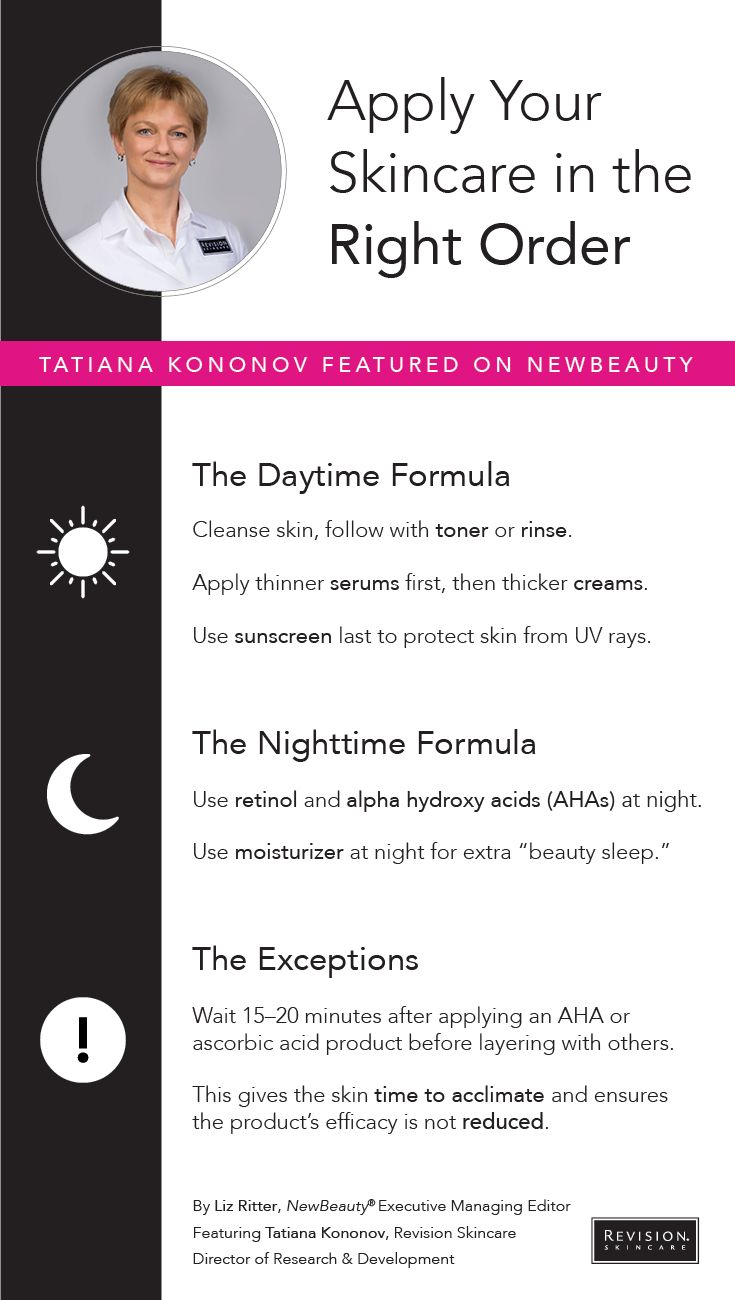 The Simple Trick to Make Sure You Are Putting on Your Skin Care in the Right Order // So many products…so much pondering over how to apply them to your skin. If you're stuck in skin care application confusion, follow these incredibly simple tips from Revision Skincare director of research and development, Tatiana Kononov, to guarantee you're getting it right every time.