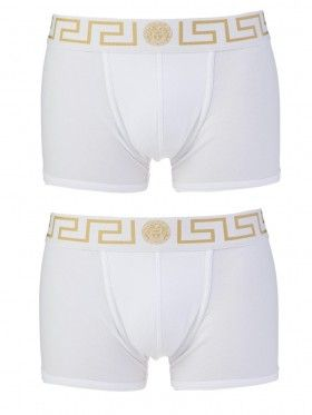 Versace Underwear White Twin Pack Low Rise Trunk Boxers