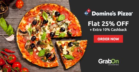 Don't Order Your Usual. Order Your Special Pizza. #Dominos Offers Flat 25% Off + 10% #Cashback. http://www.grabon.in/dominos-coupons/