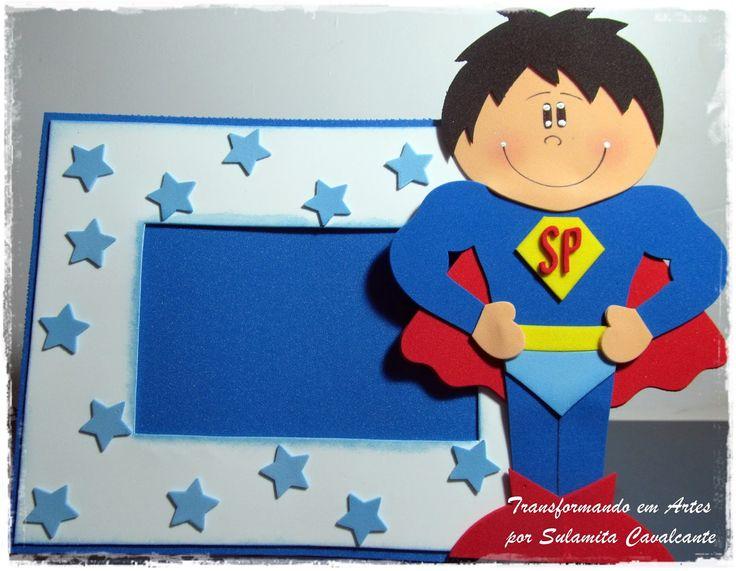 lembrancinha dia dos pais porta retrato super homem EVA escola artesanato 2