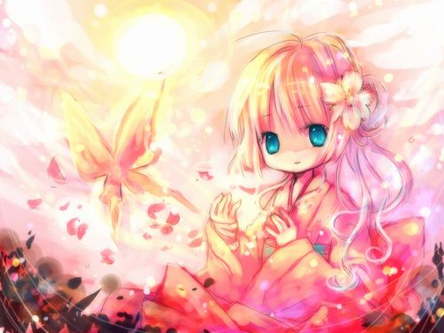 Anime Girl With Blonde Hair And Kimono Blue Eyes