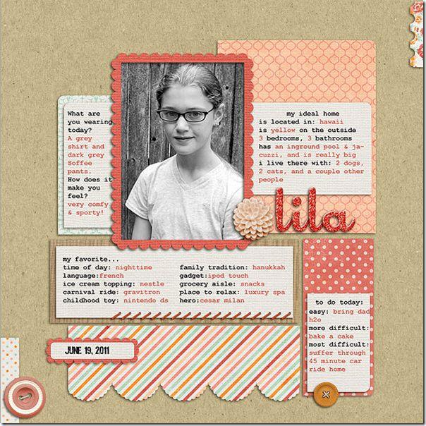 Lila...Childhood Biography Layout...favorite, etc.