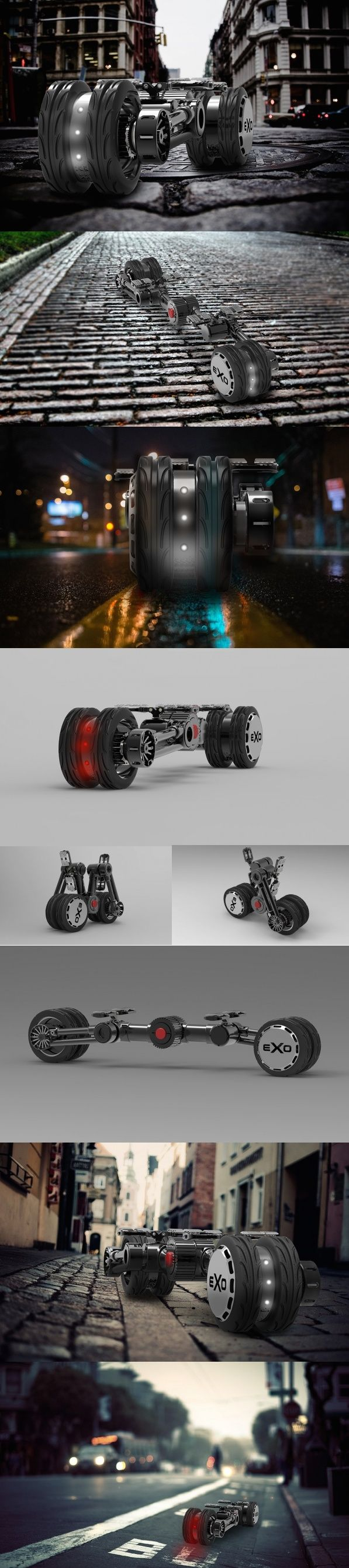 """EXO (an abbreviation of """"exoskeleton"""") denotes the aesthetic behind this E-Boards skeletal construction. Taking the interpretation of a personal electric skateboard and turning on its head, the board was designed with the intention of being the worlds first compactable electric skateboard that not only looks entirely unique, but also functions like no other. Transportation Bike Yankodesign #Technology #Swagnologies"""