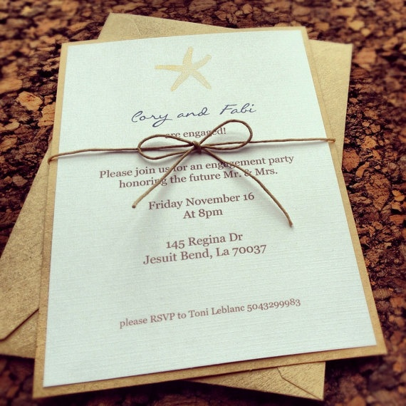 Starfish Wedding Invitation by EpochDes on Etsy, $2.00