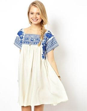 ASOS Premium Swing Dress With Embroidery