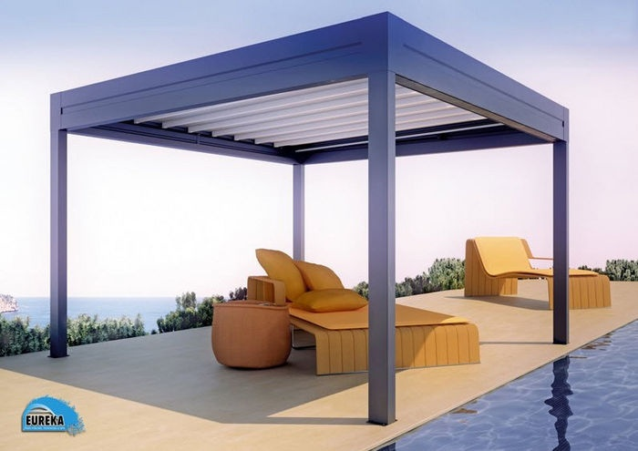 Freestanding aluminium pergola sliding canvas cover reverse eureka worldwide elements - Modern prieel aluminium ...