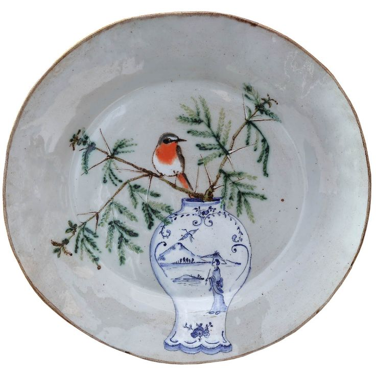 An original ceramic work by Lisa Ringwood entitled: 'Cape Robin and Acacia branch (grey round platter)