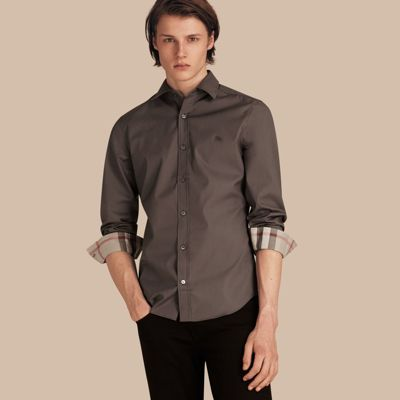 Check Detail Stretch Cotton Poplin Shirt Stone Grey