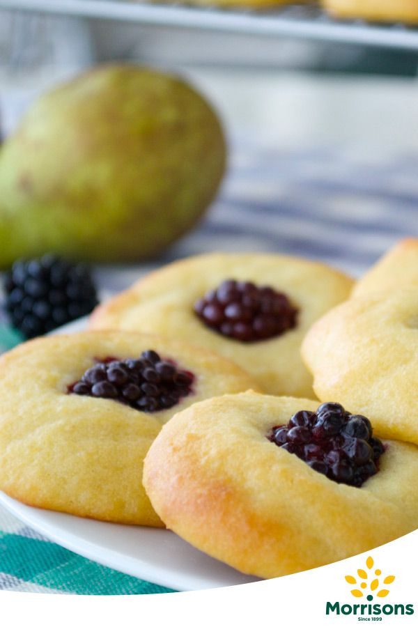 Ingredients  2 pears, use mashed banana or a fruit puree of your choice if you prefer 150g butter, use coconut oil if preferred 4 eggs 6 tbsp maple syrup ½ tsp vanilla extract 100g ground almonds 150g self raising flour, gluten-free if you prefer 25 blackberries, you'll need enough for 1 per drop Makes 25 drops  Total time required  Total time: 1 hr  Preparation time: 20 mins Cooking time: 40 mins