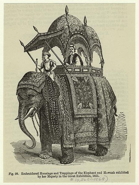 Embroidered housings and trappings of the elephant and Howdah exhibited by her Majesty in Great Exhibition 1851
