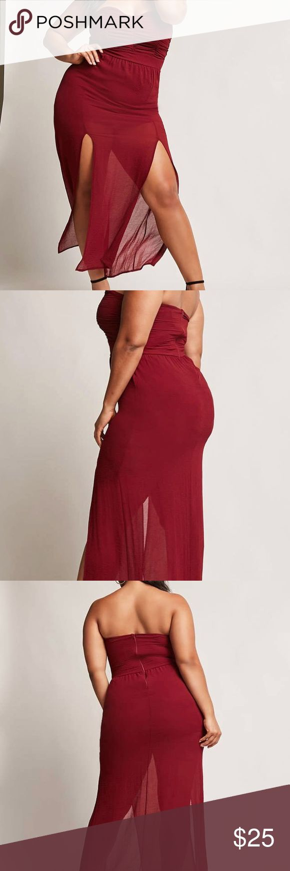 Ruched Tubes Maxi Dress Burgundy New with tags. No flaws, just changed my mind. Has been stored in the original bag just tried on 1-2x Forever 21 Dresses Maxi