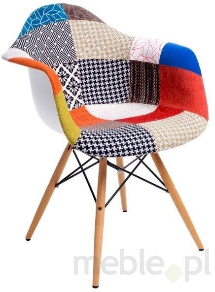 Krzesło P018 patch work z drewnianymi nogami, D2 - Meble
