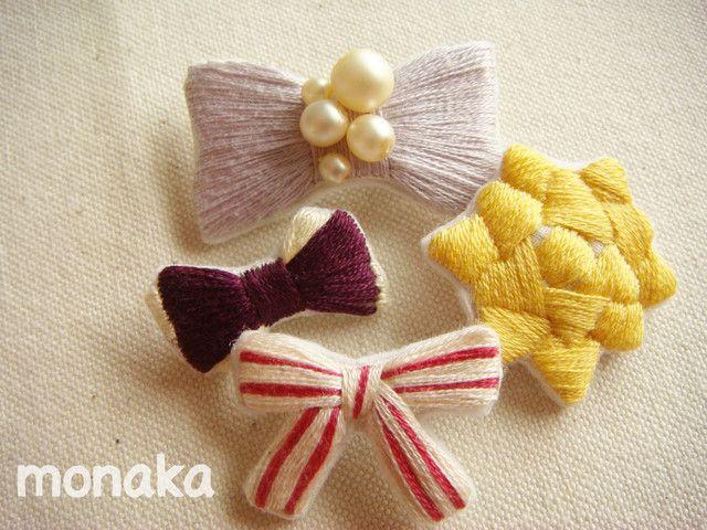 リボンアソート刺繍ブローチ(4個選択)