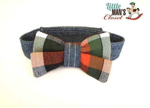 Ready to ship Green and black plaid bow tie Adjustable to fit 0- 2 years (with velcro closure for safety) $15 Matching set available #bowtie #handmade #ringbearer #firstbirthday #photoshoot #littlemansloset