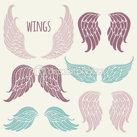 Conjunto de asas de anjo. — Ilustração de Stock #72055527