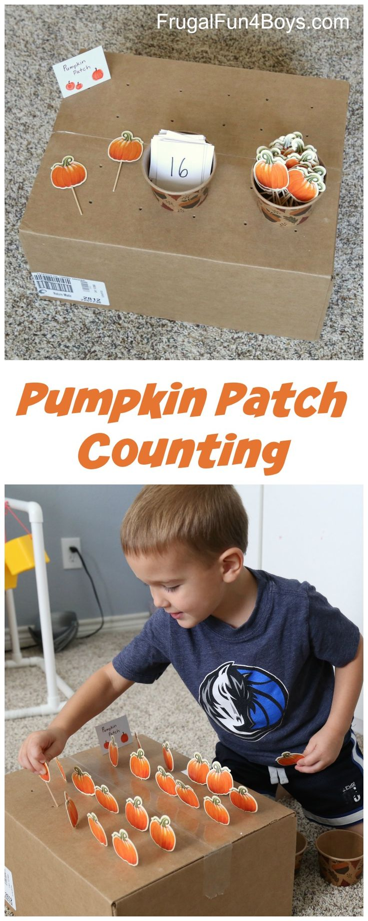 Pumpkin Patch Fine Motor and Counting Game - Turn a cardboard box into this hands on activity!