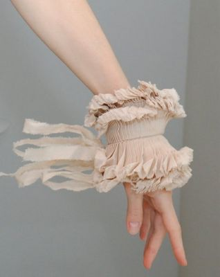 blush: Cuffs Bracelets, Couture Details, Fashion, Hands Made, Wrist Cuffs, Blushes, Accessories, Haute Couture, Ruffles