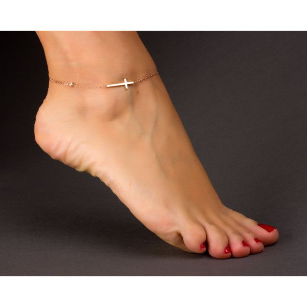 Cross Anklet Rose Gold Anklet Sideways Cross Beach Anklet Bridesmaid... (82 SAR) ❤ liked on Polyvore featuring jewelry, red gold jewelry, boho style jewelry, ankle bracelets, rose gold jewellery and bohemian jewelry