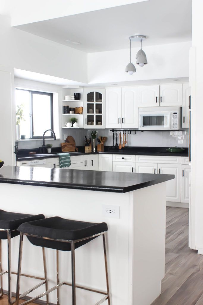 Our Weekend Renovation A New Modern Kitchen Love Create Celebrate Black Kitchen Countertops Black Countertops White Modern Kitchen