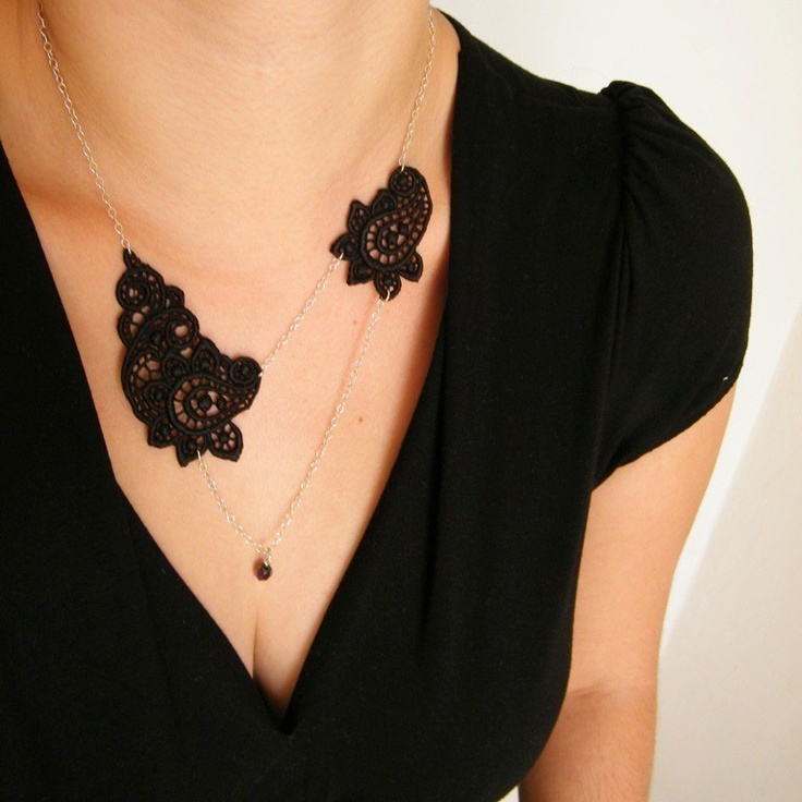 Romantic Black Lace Necklace with Crystal Bead and Sterling Silver chain