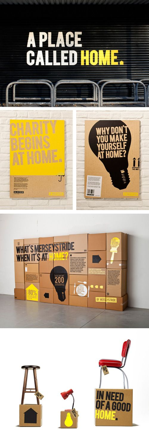 HOME by Merseystride // Naming and branding project // Home is a furniture retailer which gives work experience to local homeless and unemployed people. Great idea #packaging #branding PD
