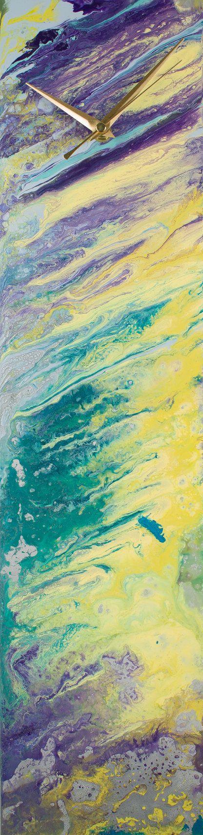 Glass wall art, Suncatcher Clock, Unique Wall clocks, Silent clock, Amber Glass Clock, Transparent Glass Translucent Glass Art, Centrepiece by