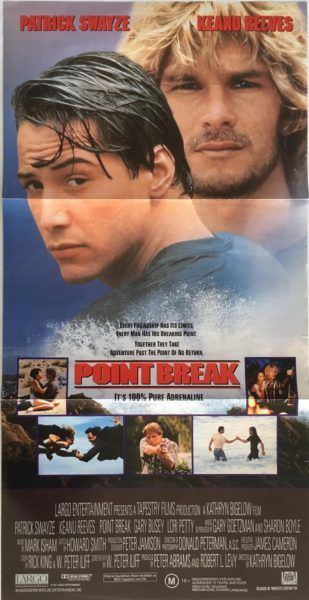 Point Break Original 1991 Australian Daybill Movie Poster. Available to purchase from our website.