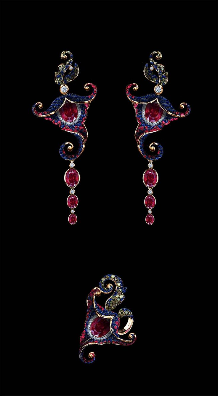 Jewellery Theatres yellow gold Flowers earrings and ring features white, green and blue diamonds, rubies and sapphires.: