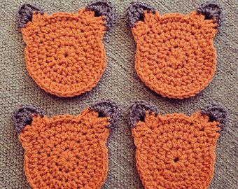 Crochet el zorro posavasos (juego de 4)