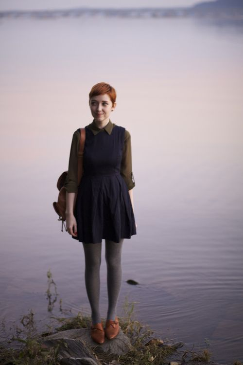 Navy collared dress + grey tights + brown oxfords