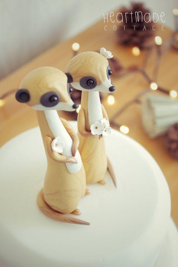 LOVE MEERKATS Meerkat Wedding Cake Topper by HeartmadeCottage