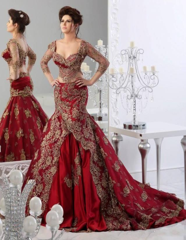 Cheap Vintage Lace Wedding Dresses Red Ball Gowns Mermaid Gown 3 4 Long Sleeve Prom Arabic Jajja Couture Dress As Low 16583