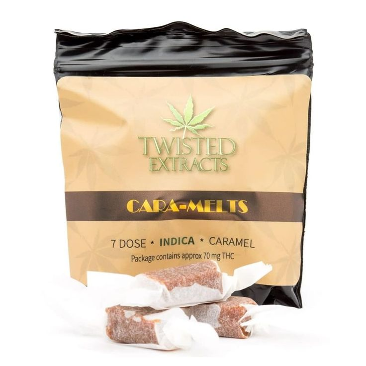 Indica Cara-Melts by Twisted Extracts are individually wrapped in 10mg caramels that provide a consistent and reliable delivery system for ingested cannabis. #twistedextracts #Indica #THC #edibles
