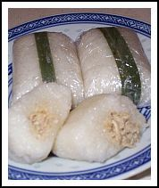 Indonesian Sticky Rice Rolls filled with shredded chicken, great dessert to take away. Pretty handy to take somewhere and easy to make.