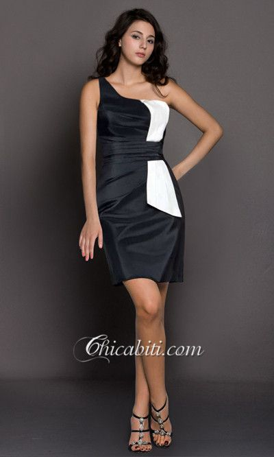 Abiti Cerimonia Corti Tubino Monospalla Satin ACM338  #chicabiti #dress #women